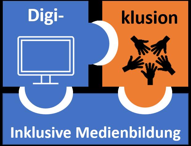 Logo der Digi-klusion, zwei blaue und ein organges Puzzelteilchen greifen ineinander